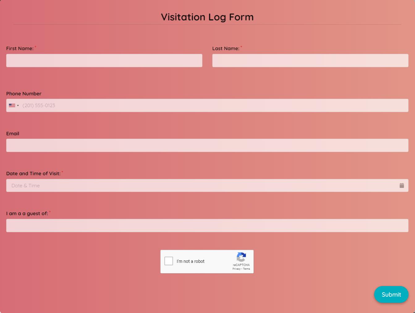 Visitation Log Form Template template