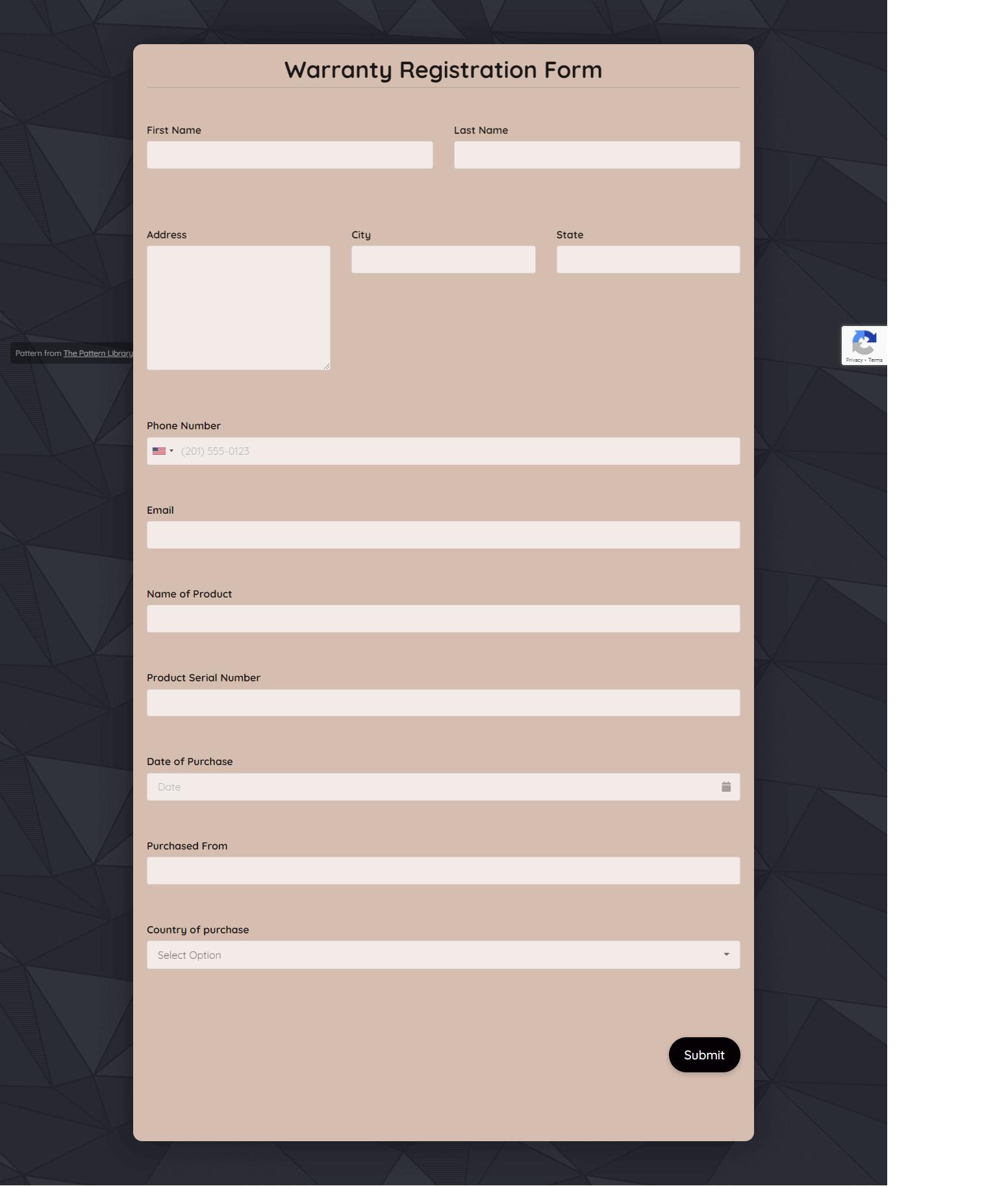 Warranty Registration Form Template template