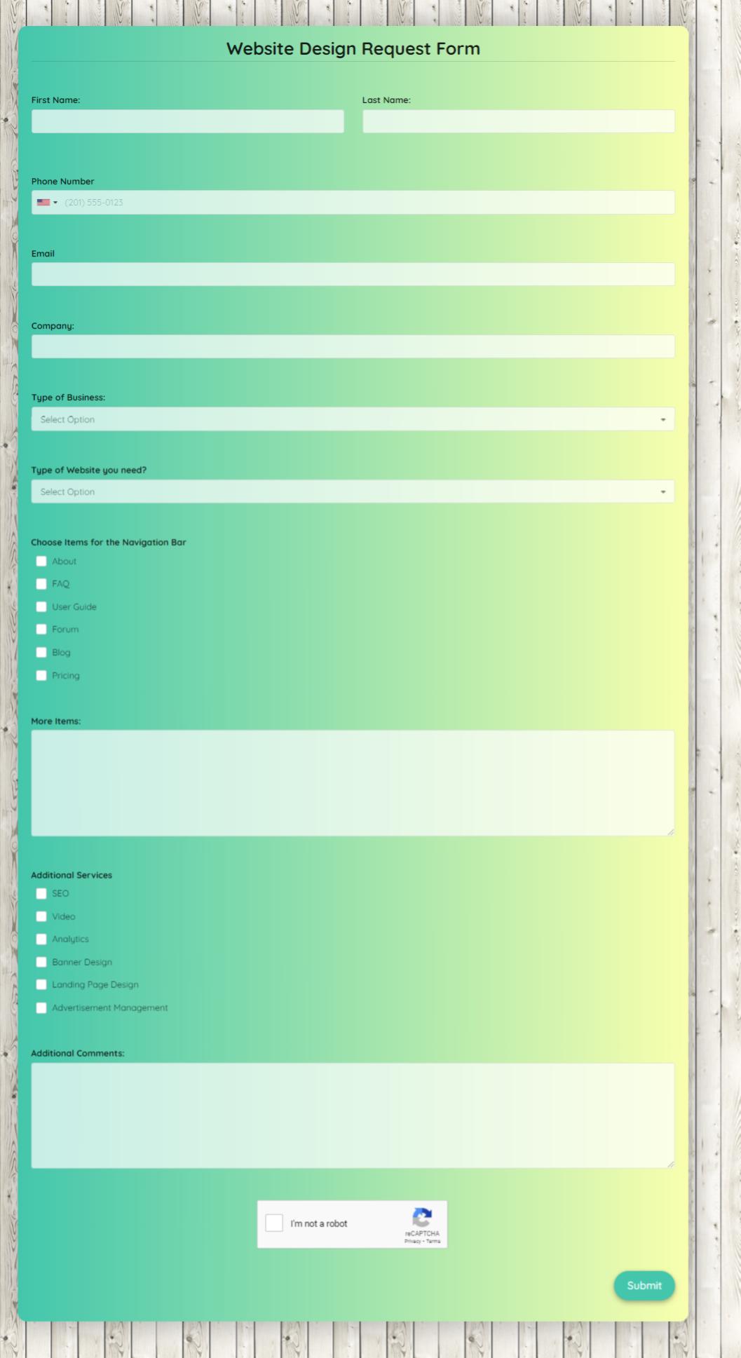 Website Design Request Form Template template
