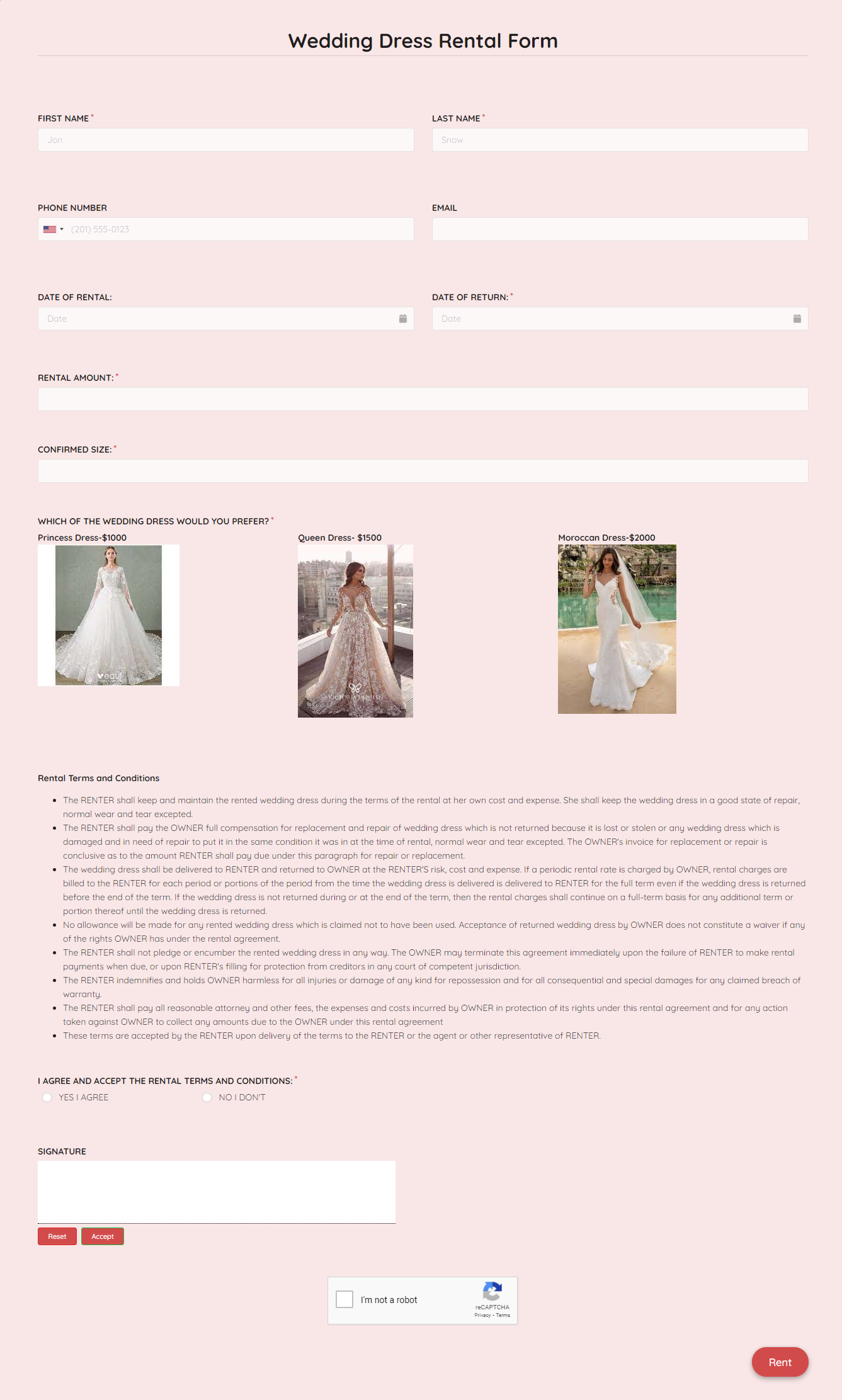 Wedding Dress Rental Form Template template