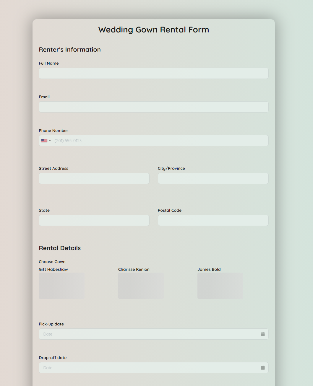 Wedding Gown Rental Form Template template