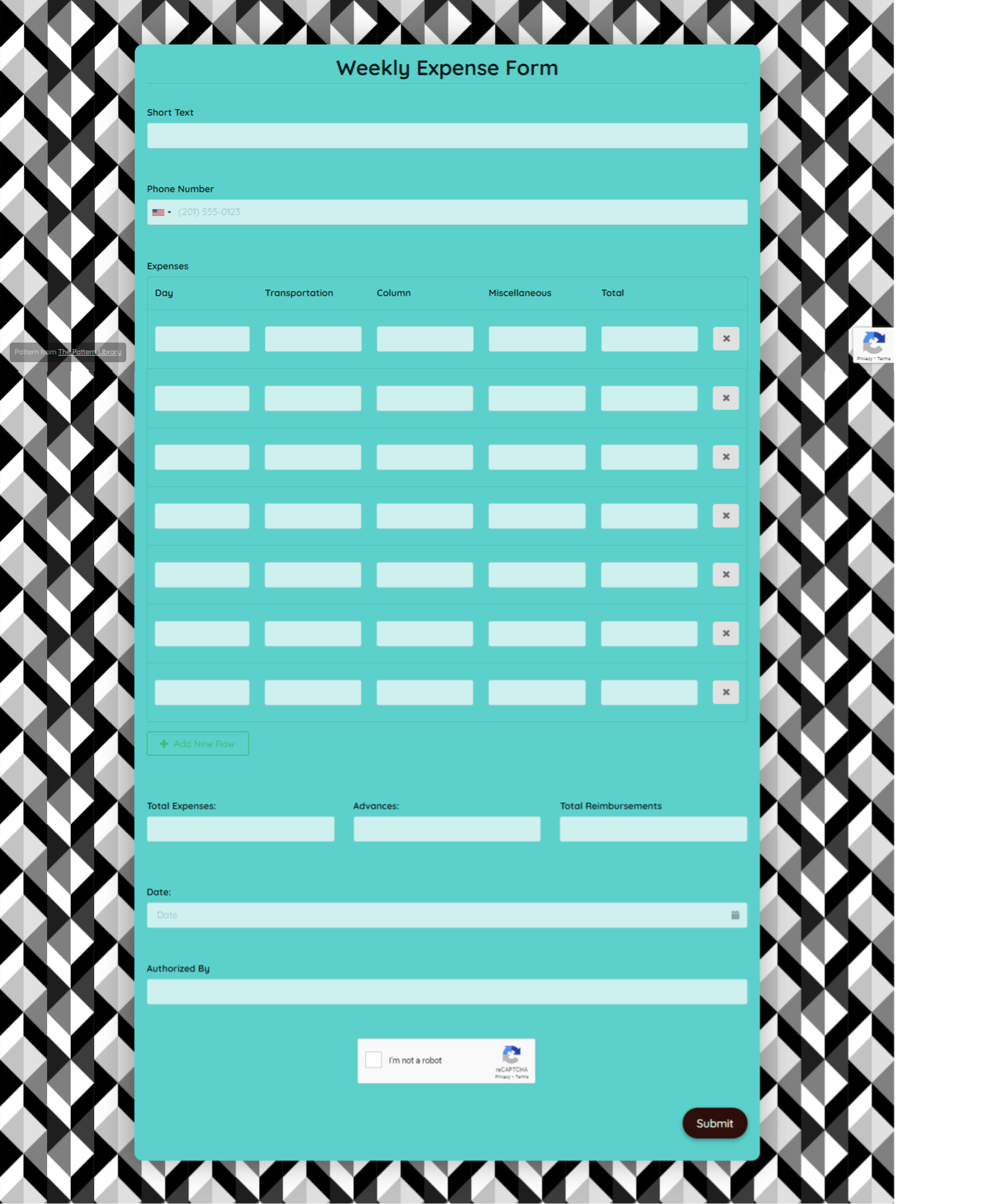 Weekly Expense Form Template template