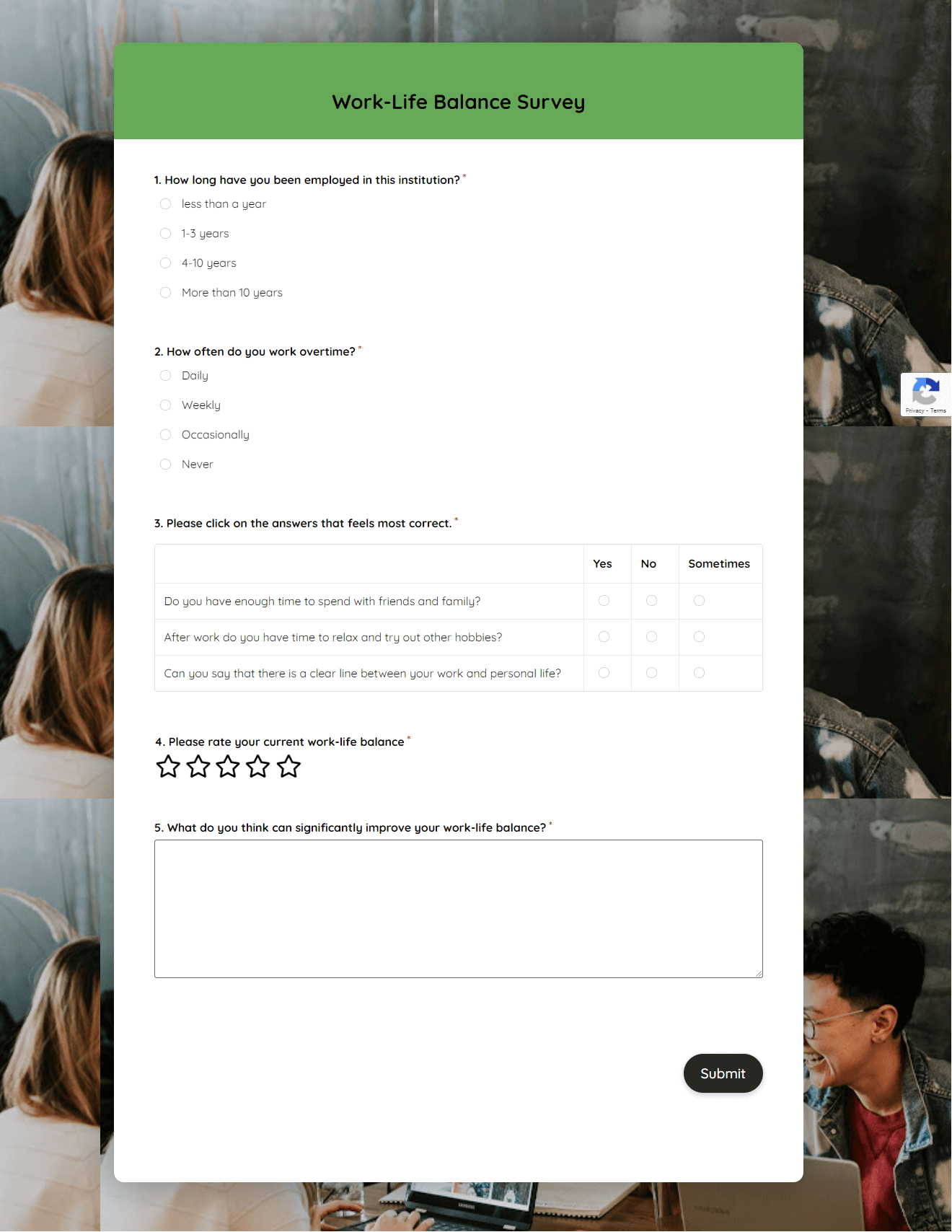 Work Life Balance Survey Template template