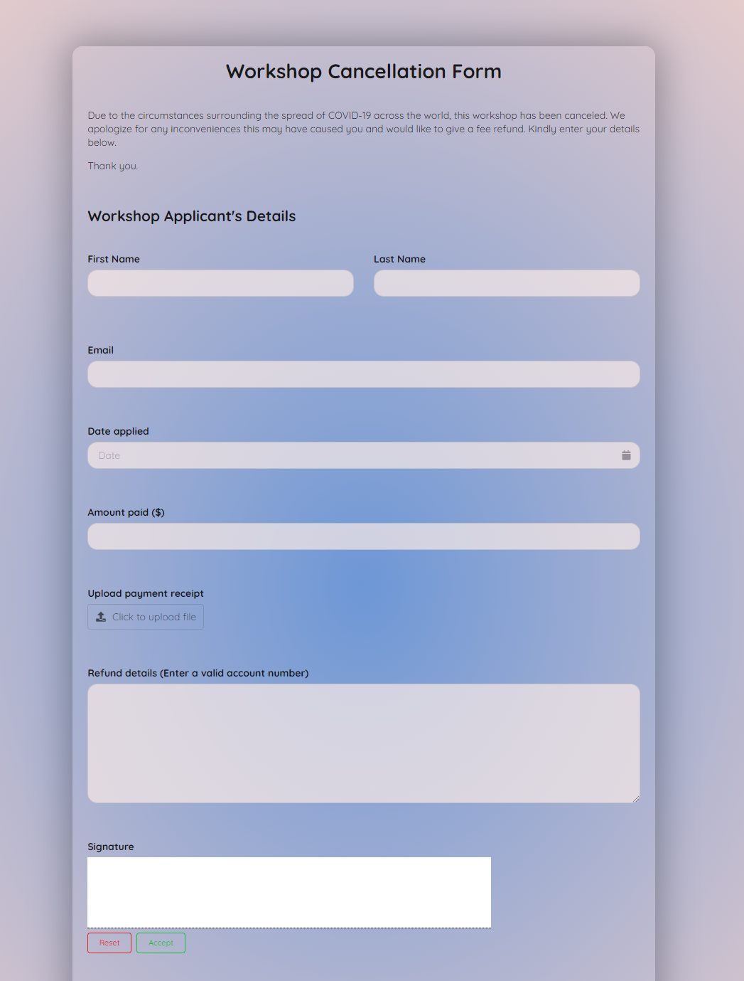 Workshop Cancellation Form Template template