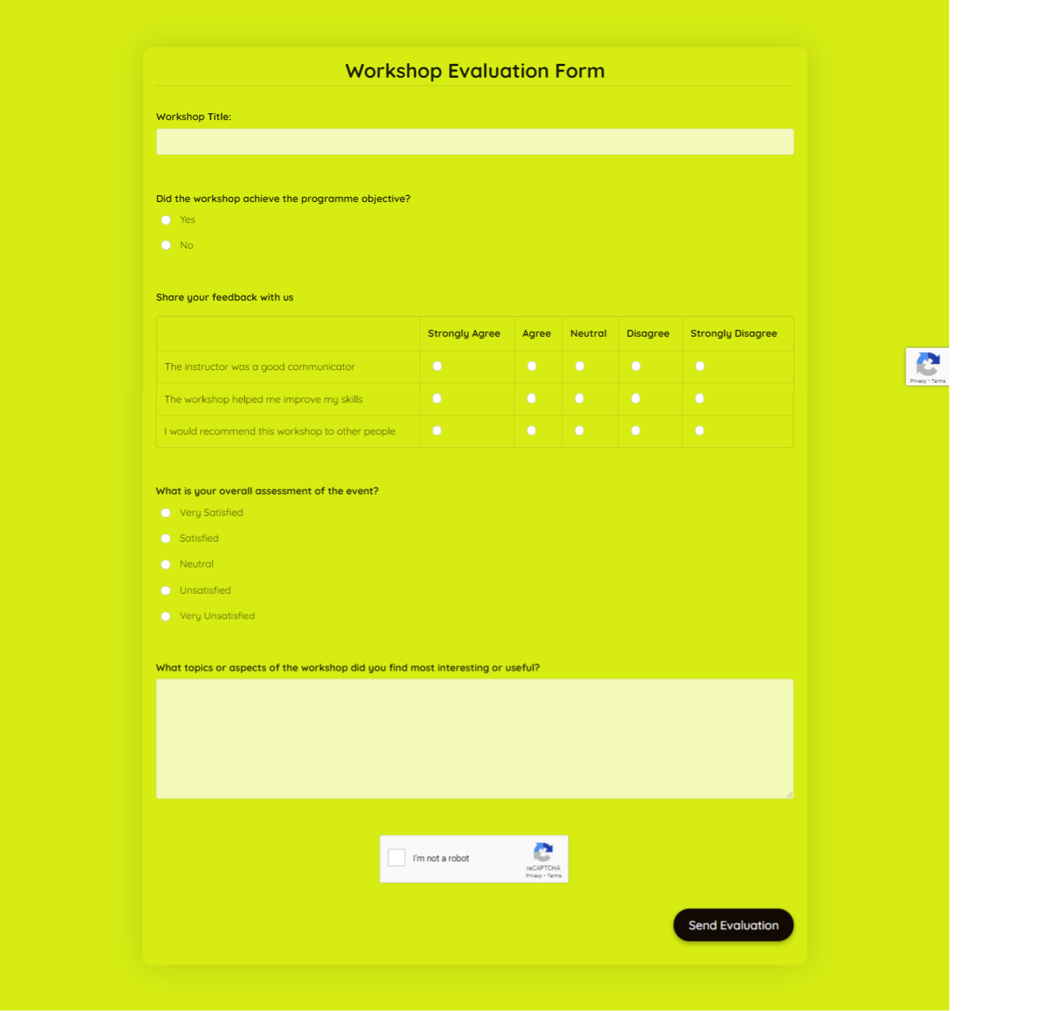 Workshop Evaluation Form Template template