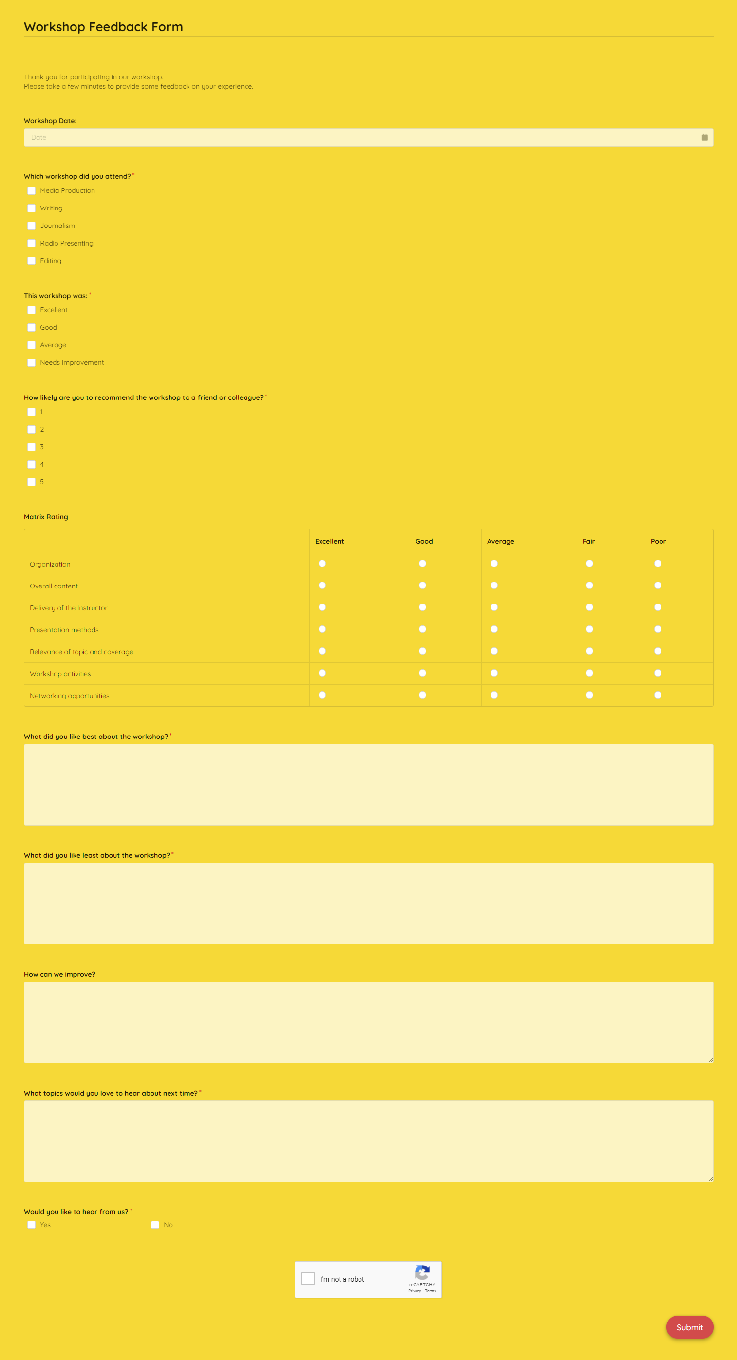 Workshop Feedback Form Template template