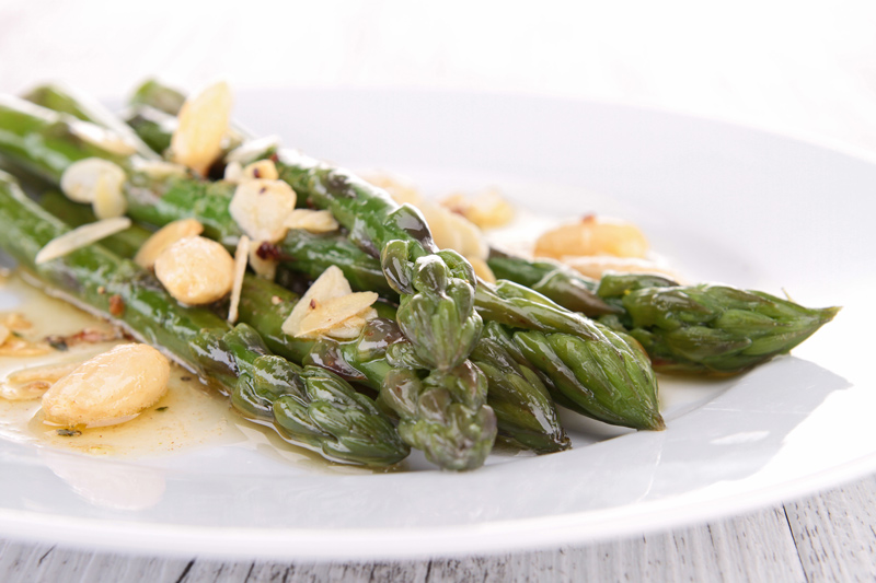 Roasted Asparagus with Marcona Almonds and Manchego