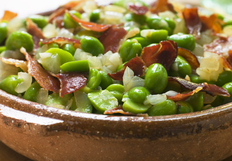 Fava Bean Salad with Tomatoes and Jamón