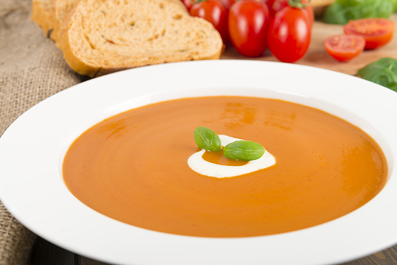 Chilled Tomato Soup with Créme Fraiche
