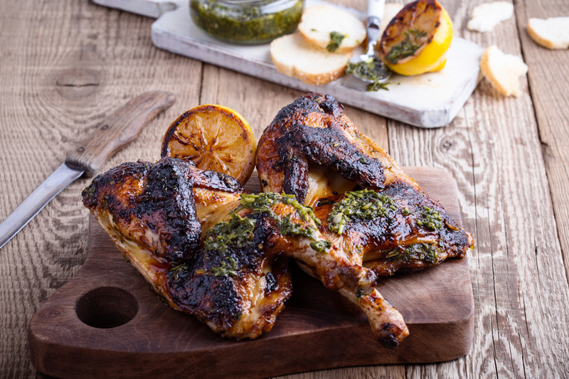 Perfect Roast Chicken with Salsa Verde