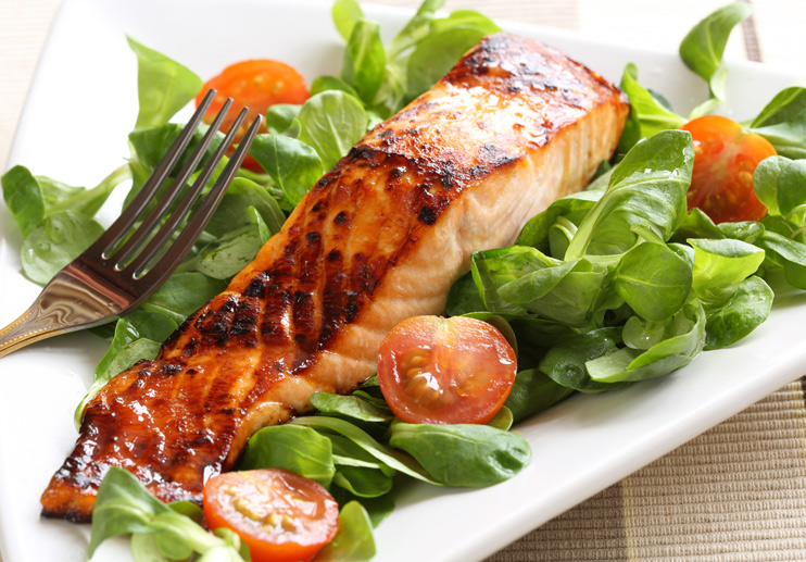 Grilled Salmon with Watercress and Cherry Tomatoes