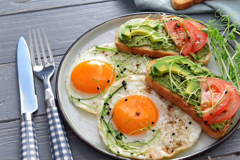 Olive Oil-Fried Eggs with Chile and Sprouts