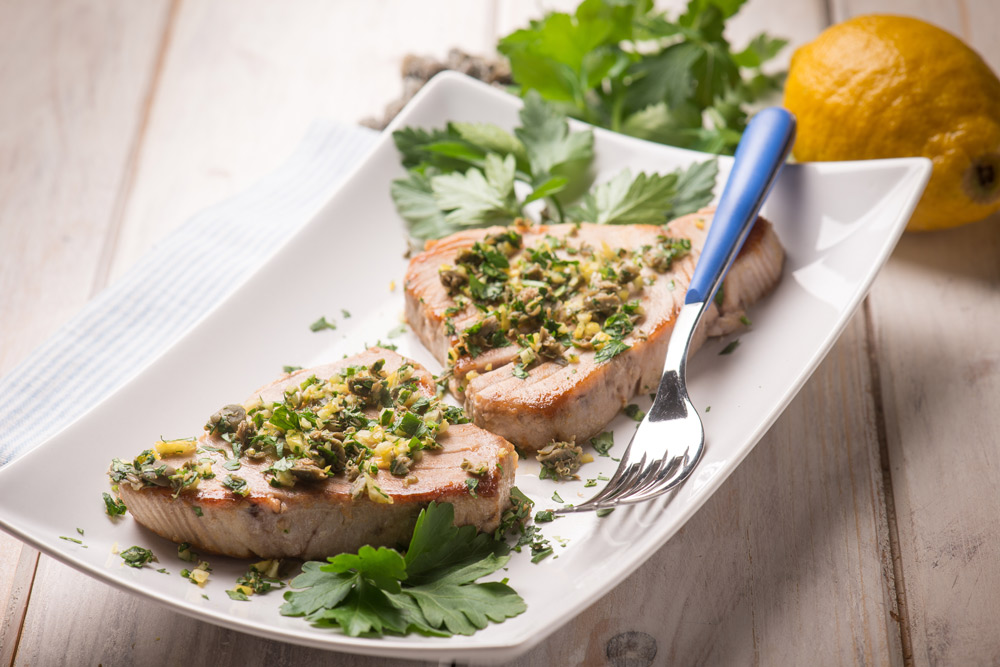 Grilled Tuna with Castelvetrano Olive Relish