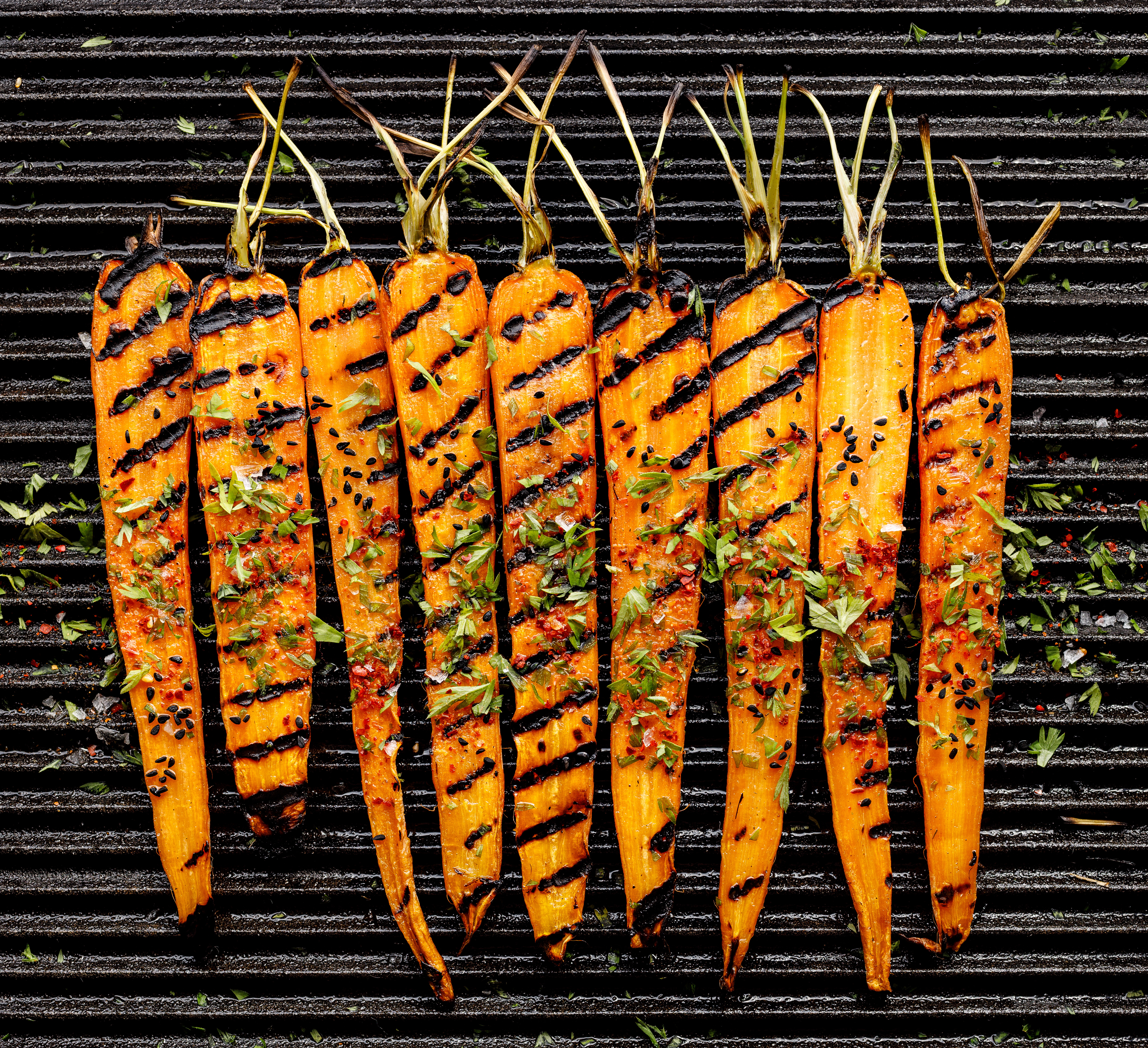 Grilled Carrots with Avocado and Mint