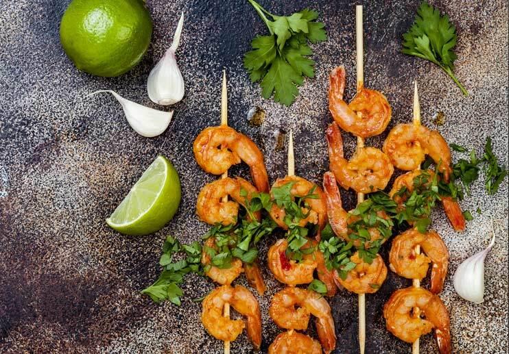 Shrimp with Avocado Cilantro Sauce