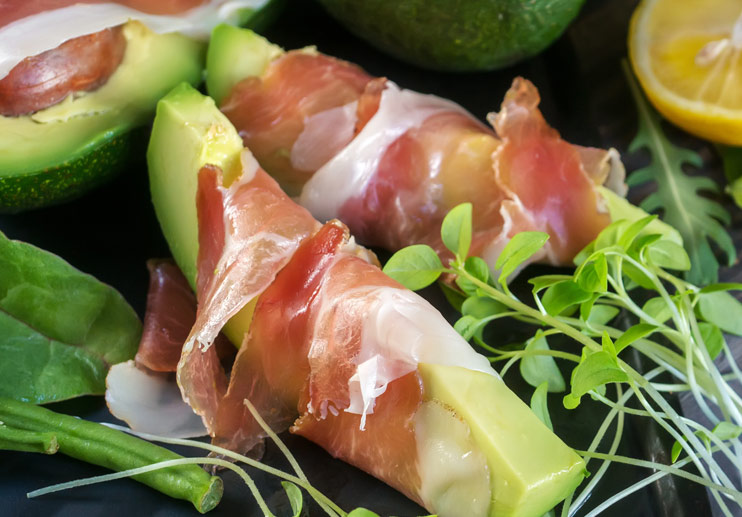 Avocado and Prosciutto Wraps