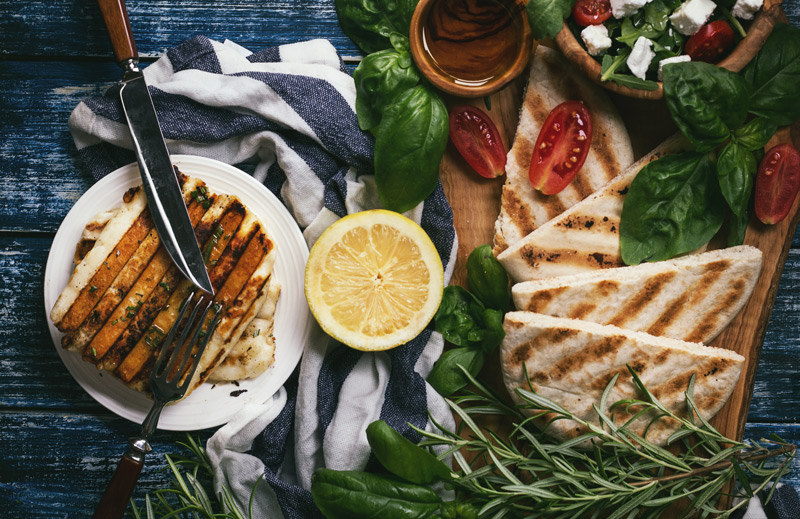 Grilled Halloumi and Greek Salad Wraps