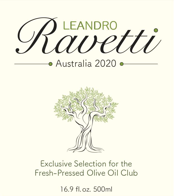 Leandro Ravetti 2020, Boort, Victoria, Australia Fresh Pressed Olive Oil Label