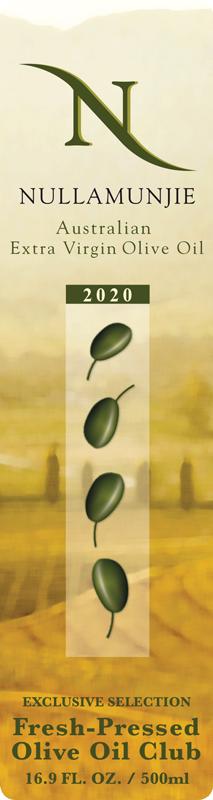 Nullamunjie 2020 Blend, Tongio, Victoria, Australia Fresh Pressed Olive Oil Label