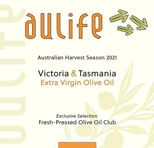 AuLife 2021 Fresh-Pressed Olive Oil label