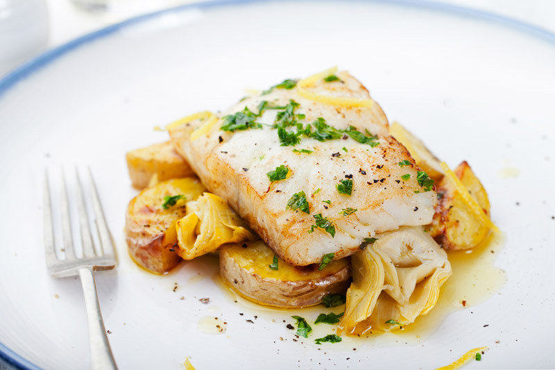 Grilled Fish With Artichoke Caponata