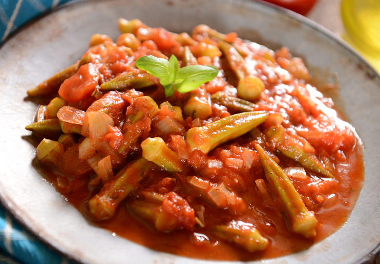 Greek Okra Stewed with Tomatoes and Olive Oil (Bamies Ladera)