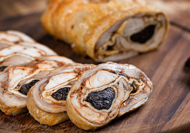 Turkey Roulade with Prunes and Prosciutto