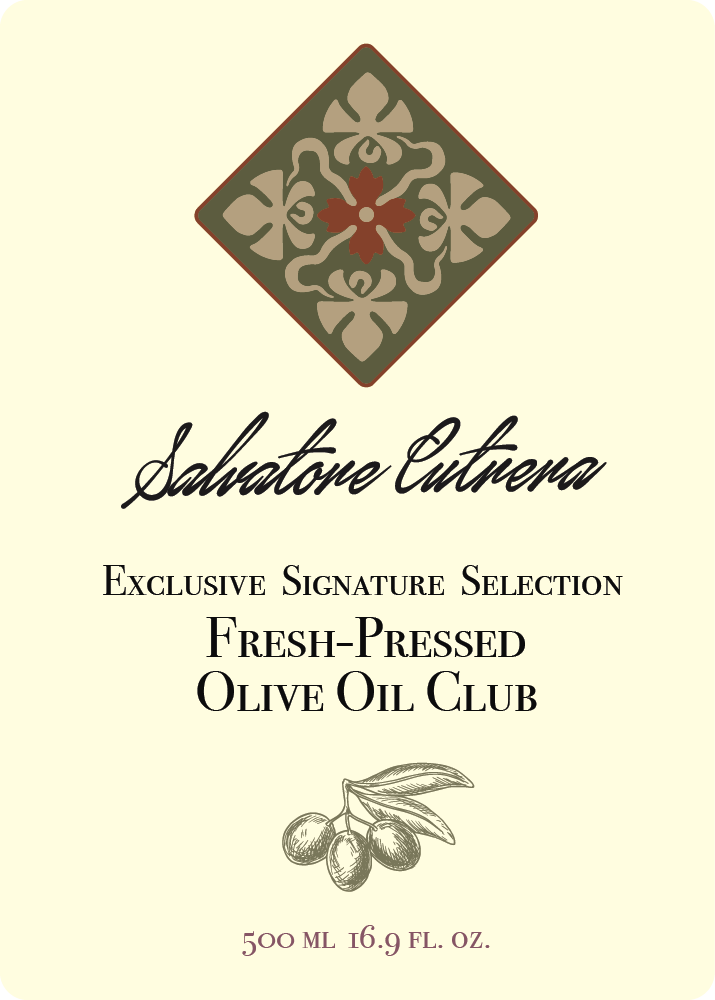 Salvatore Cutrera Fresh Pressed Olive Oil Label