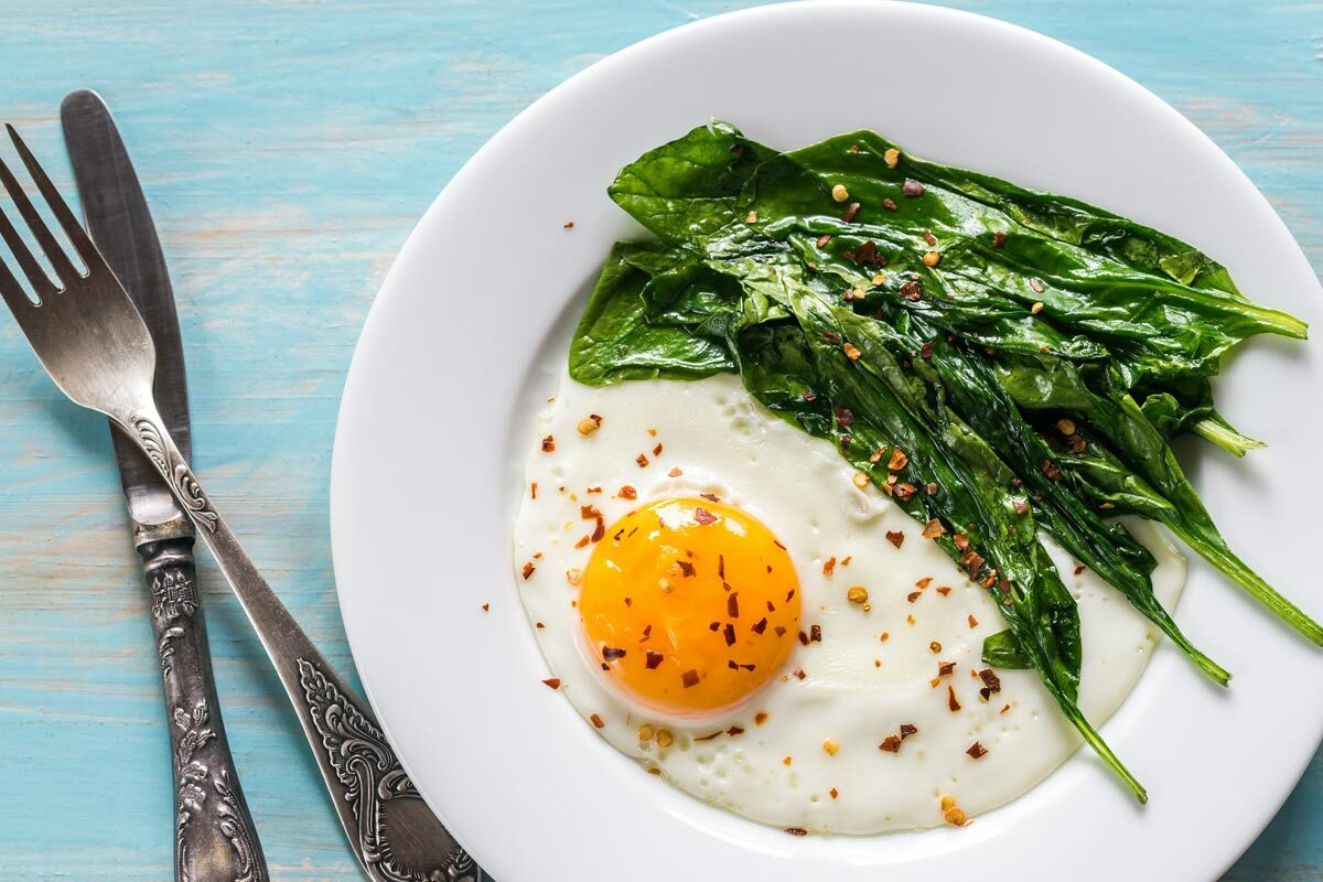 Eggs and Greens in Olive Oil