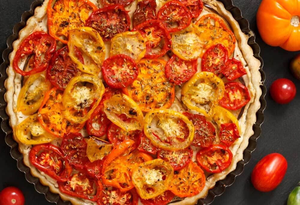 Tomato Tart with Olive Oil Pastry