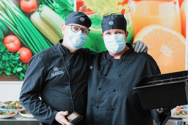 Head Chef Jyri Saarinen with Cold Kitchen Chef Päivi Niskanen ISS