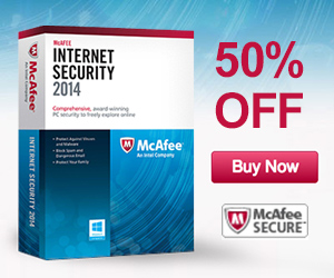 Save 50% off McAfee Internet Security 2014