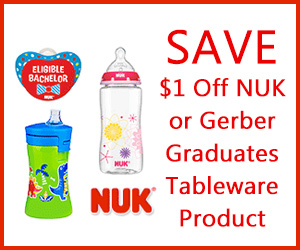 Save $1 Off NUK or Gerber Graduates Tableware Product