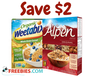 Save $2 on Weetabix, Alpen or GrainShop Cereal