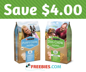 Save $4 on Dog Chow Natural Dry Dog Food