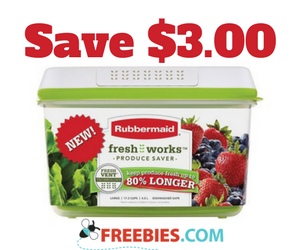 Save $3 on any Rubbermaid FreshWorks Produce Saver