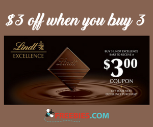 Buy 3 Lindt Excellence Bars and Receive a $3 Coupon
