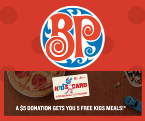 5 Free Kids Meal at Boston Pizza