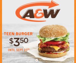 A&W Teen Burger Only $3.50