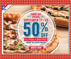 50% Off Pizzas at Domino's