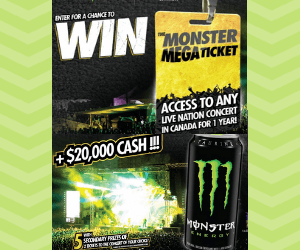 Win $20,000 Cash & Concert Tickets for a Year from Monster Energy