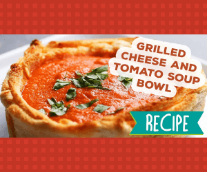 Tomato Soup in a Grilled Cheese Bowl