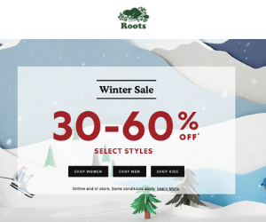 30-60% Off at Roots