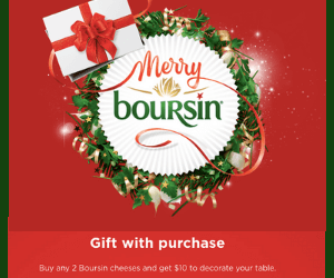 Free $10 HBC Gift Card with Boursin Purchase