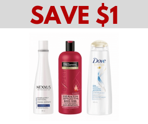 Save $1 on Dove, TRESemme, or Nexxus Hair Care
