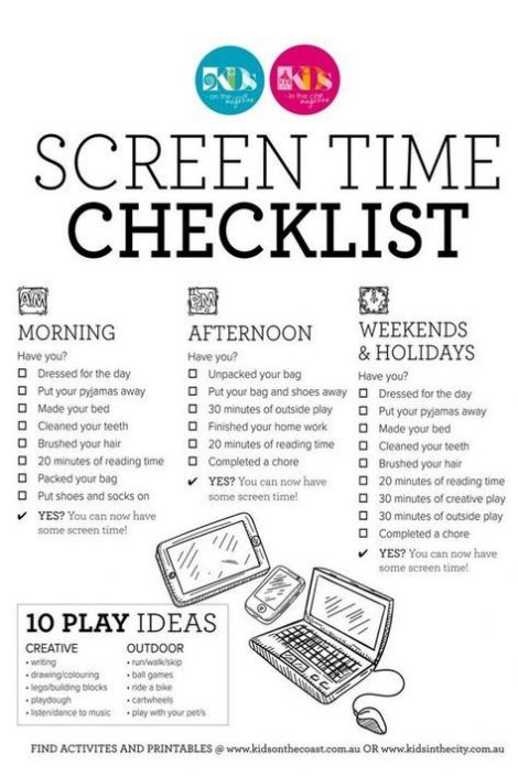 screen time checklist 2