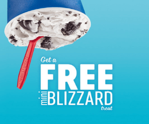Free Mini Blizzard At Dairy Queen
