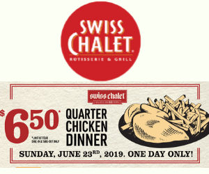 Swiss Chalet: $6.50 Quarter Chicken Dinner