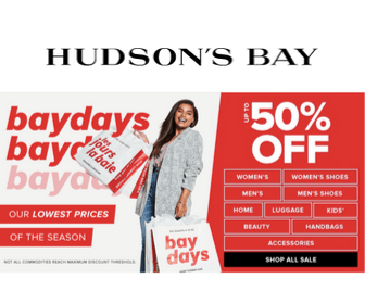 50% Off at Hudson's Bay