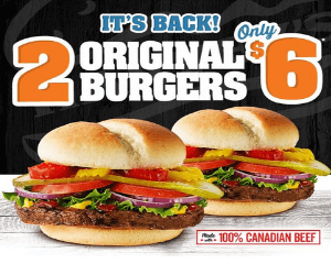 2 Harvey's Original Burgers for $6!